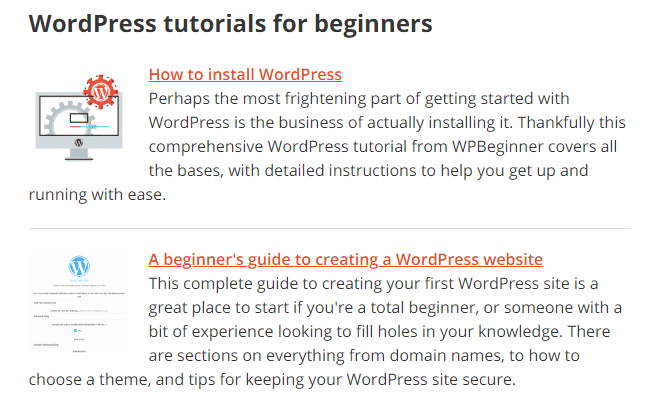 some examples of the WordPress tutorials on offer